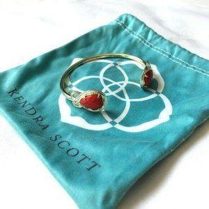 Kendra Scott Red Andy Cuff Bangle Bracelet Gold